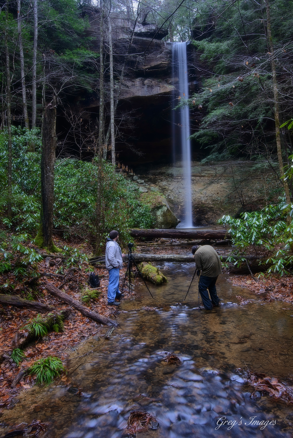 PHOTOGraphers Bill Fultz and Christopher Morris setting up a shot of Yahoo Falls from downstream. Photo: Greg Davis
