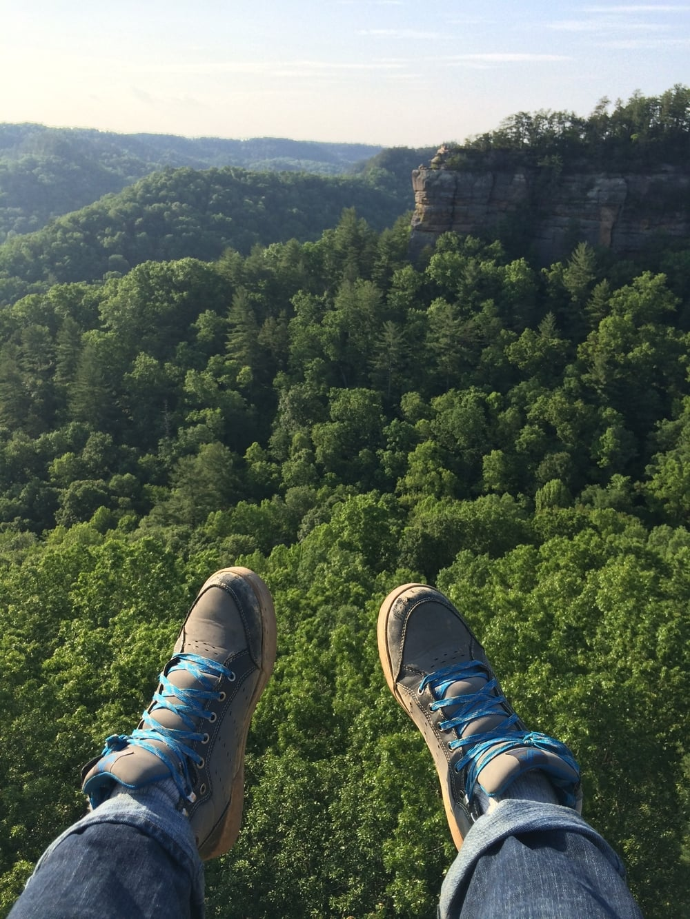 Sitting on Half Moon Rock looking out at Chimney Top Rock in the Red River Gorge.