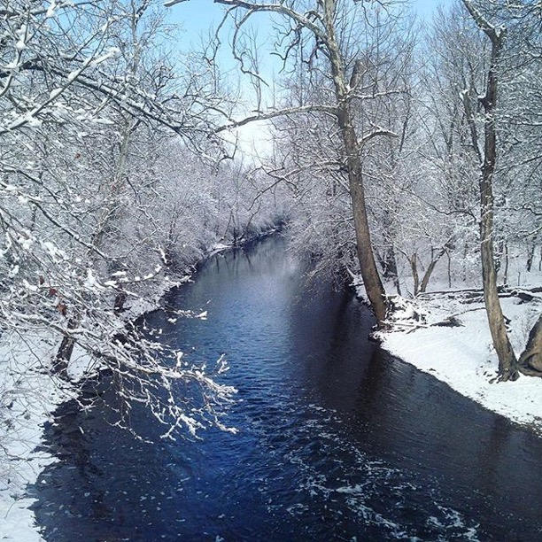 """  Pic down stream from the   #WeisenbergerMill   last snow storm...""   Midway, Kentucky  Photo via Instagrammer  @southern_pirate"