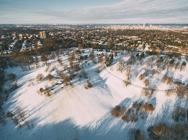 """""""Live in Louisville? Going sledding today? I bet this is the first place you think to go. Managed to get out there this morning before anyone had started their sledding. I bet that hill has a lot of trails in it now. Dog Hill in Cherokee Park in the Highlands area of Louisville.""""Dog Hill Cherokee Park, Louisville, Kentucky Photo via Instagrammer @civicseth"""