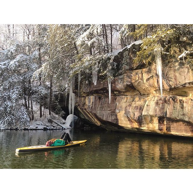 """"""" We relaxed here for awhile and watched the ice spears fall. """" Laurel River Lake, Kentucky Photo via Instagram duo @wekeeprollingdowntheroad"""
