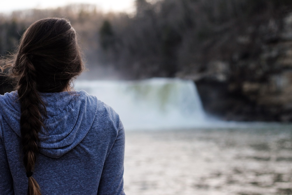 Kelsey Morris enjoying the view of the massive Cumberland Falls.
