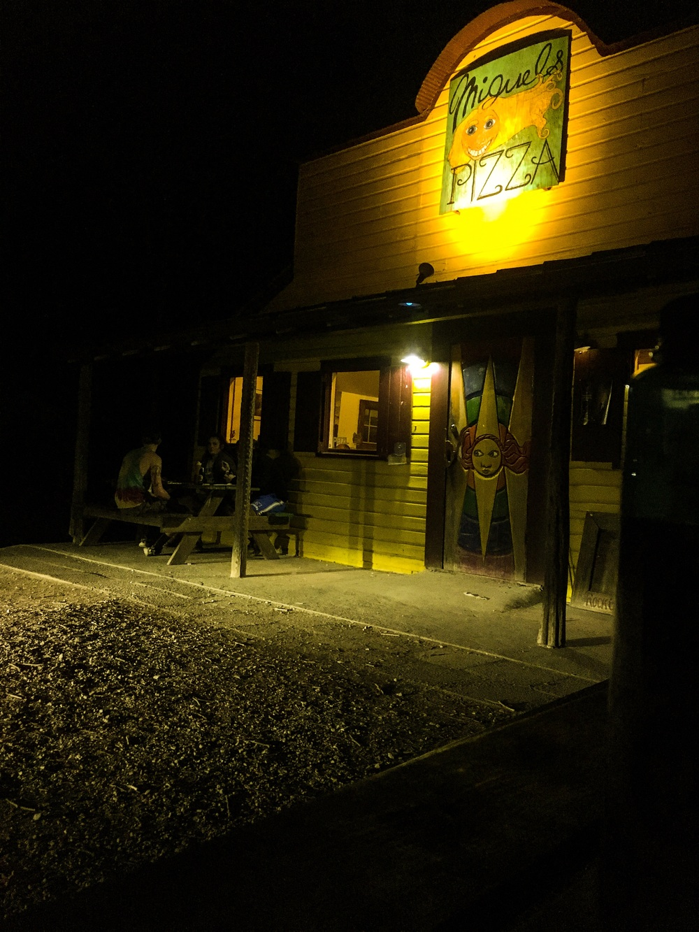 Miguel's at night. This place was crawling with climbers. It was beautiful out and perfect weather for camping and climbing.