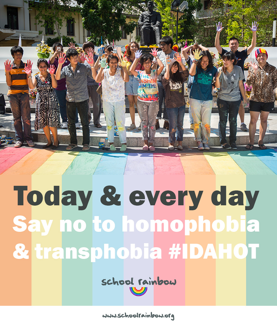 The International Day Against Homophobia and Transphobia may be over for another year but #schoolrainbow will continue to raise awareness of bullying of LGBT students in Thailand and elsewhere.  ©UNAIDS/UNESCO/A.Martin