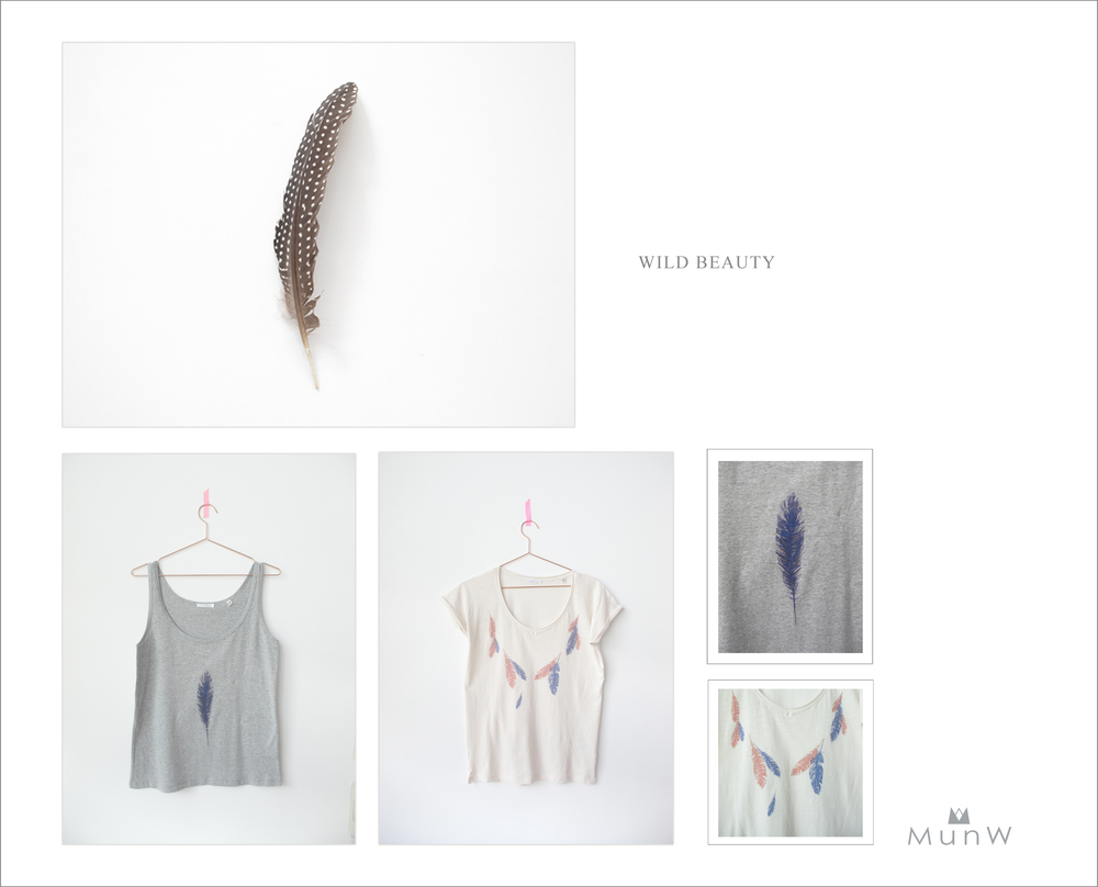 MunW lookbook: Feather's t-shirts. Available at www.munw.es.