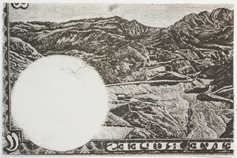 Five Rupees, 2013 Wintergreen oil Monotype on paper 22 x 30 inches