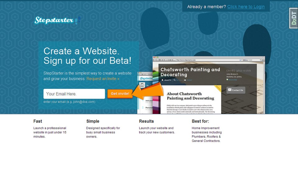 StepStarter Landing page required an invite in order to keep the beta limited to a small, trackable group of pre-approved users.