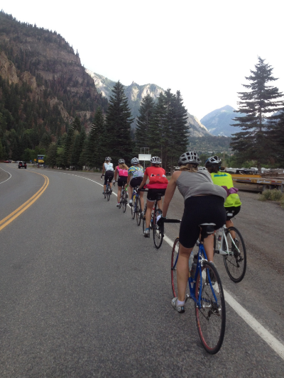 Rolling into Ouray. Alyssa get back in the paceline!