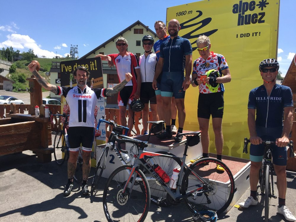 Feeling awkward on the tourist podium at the top of Alpe d'Huez