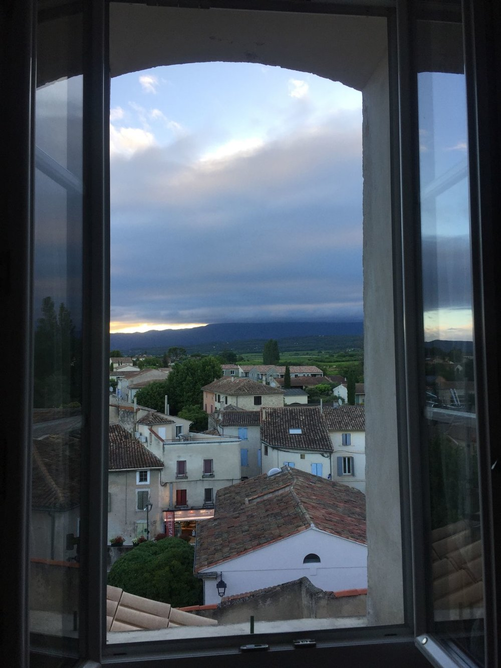 View of the cloud covered Ventoux outside my hotel window