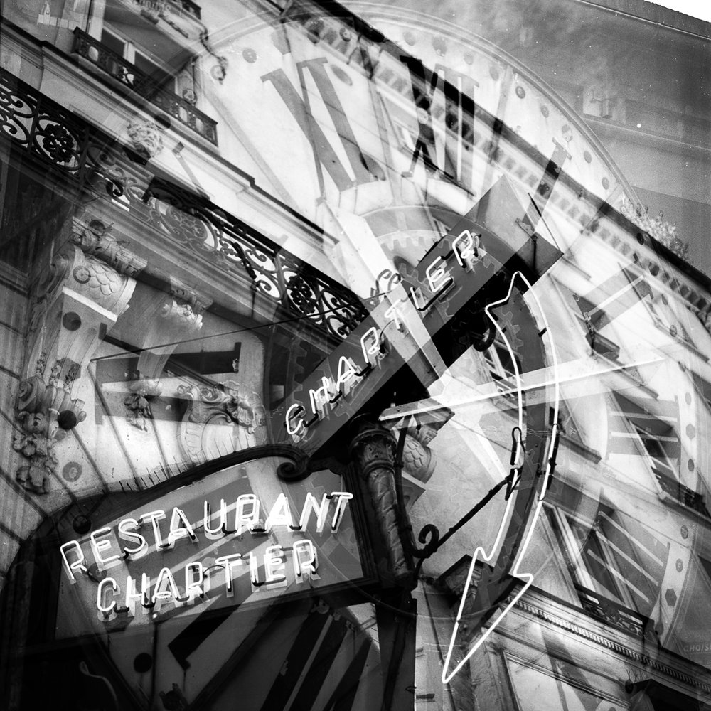 "Chartier, Time Traveler  12""x12"" Black & White C-Print - $200 - Edition of 25 24""x24"" Black & White C-Print - $500 - Edition of 20"