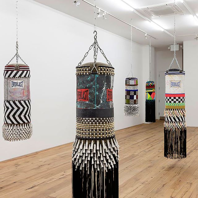 Artist Jeffrey Gibson's glass bead work on these punching bags is a total knock out! . . . . . #eightyloves #inspiration  #jeffreygibson #eightymag #editorial #printmagazine #jerseycity #boxing #sports #nyc #nycartist #sportsphotography #gameon #champions #streetphotography