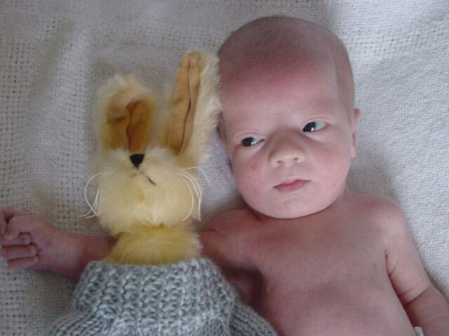 This picture has always made me smile-holding the bunny given to him by Sue Buchanan.