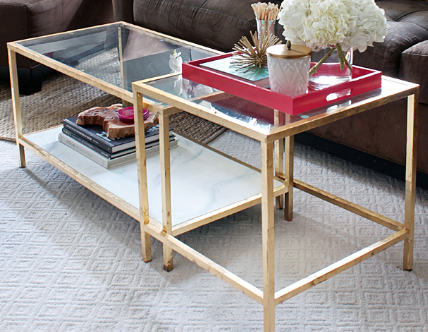 Gold + Glass Coffee Table $40, Side Table $25