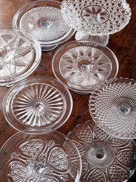 Vintage Crystal Cake Platter $15
