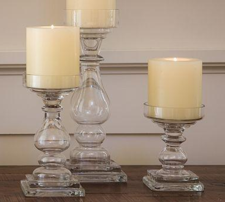 Glass Pillar Candle Holders $5-$10/e