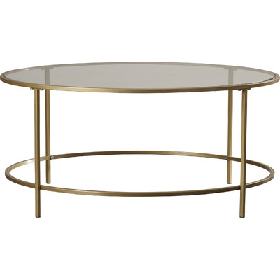 Round Gold and Glass Coffee Table $60