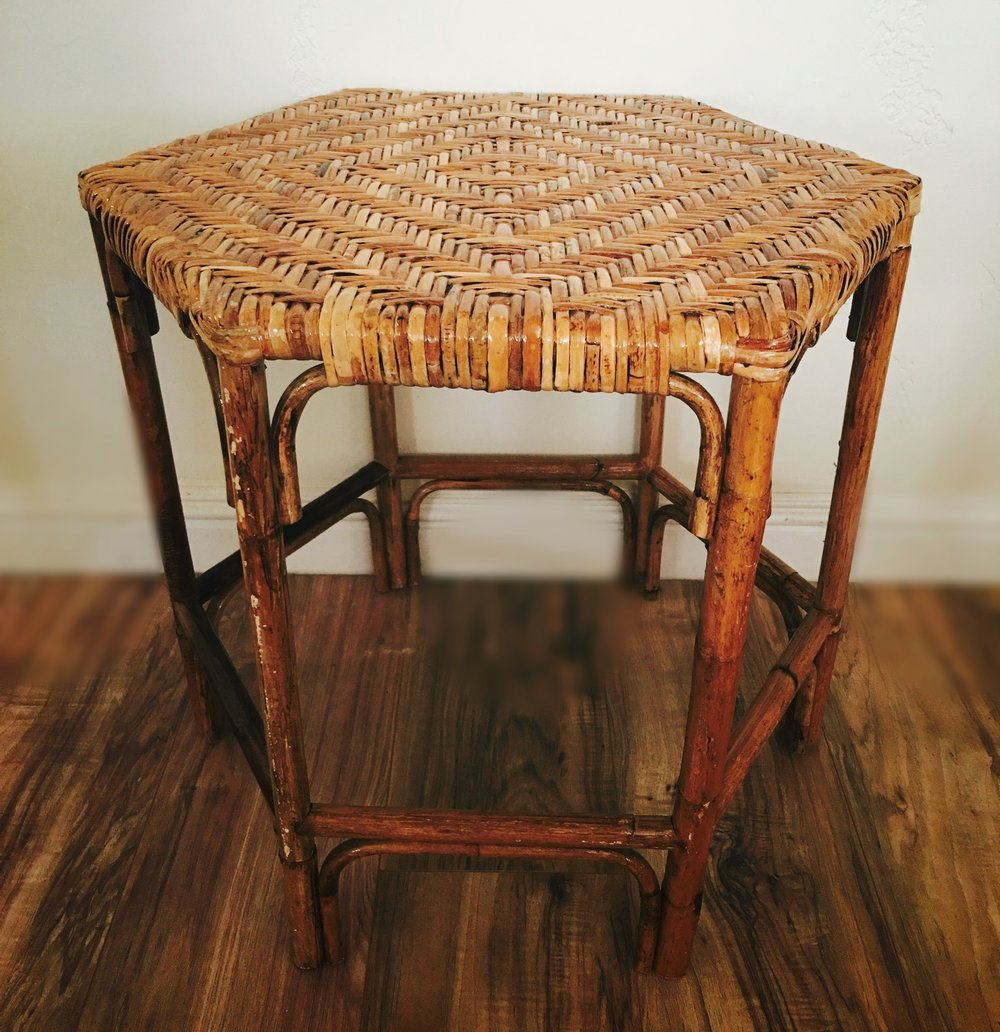 Rattan Hex Side Table $35