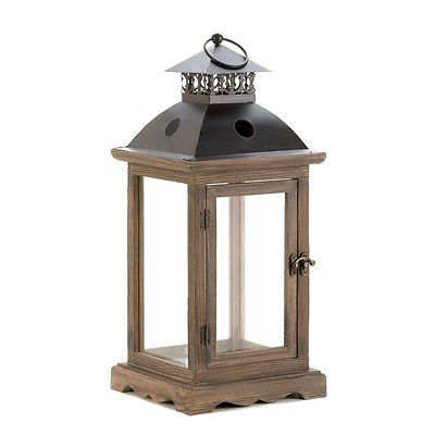 wood + metal lantern $8