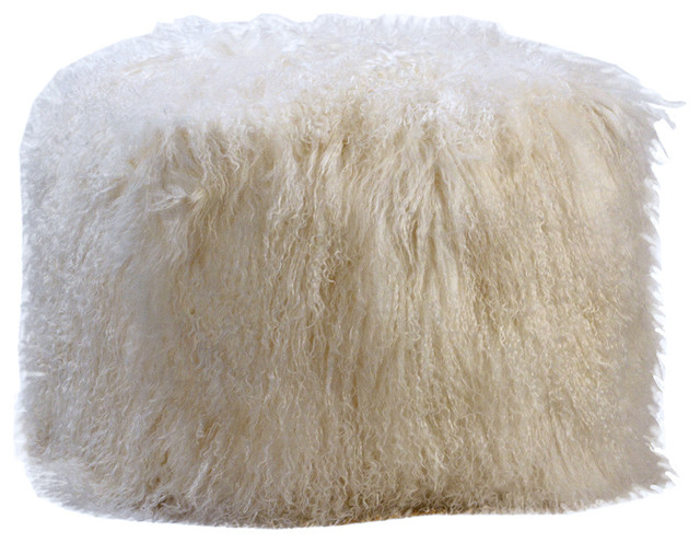 White Fur Pouf $20