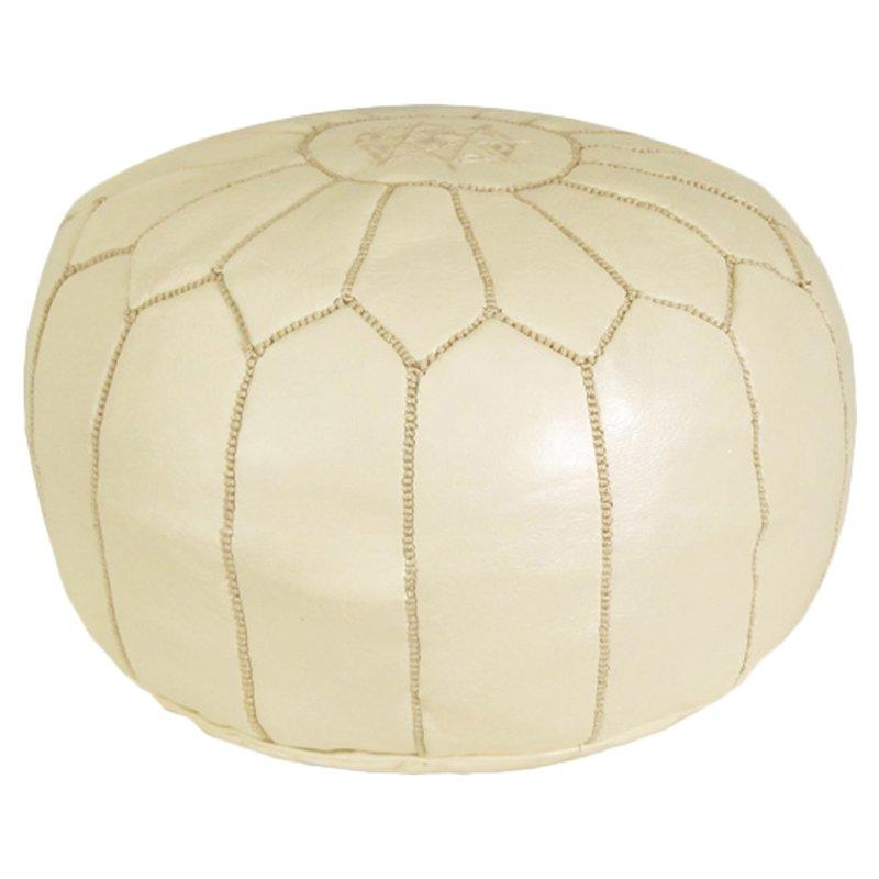 Cream Leather Moroccan Ottoman $30