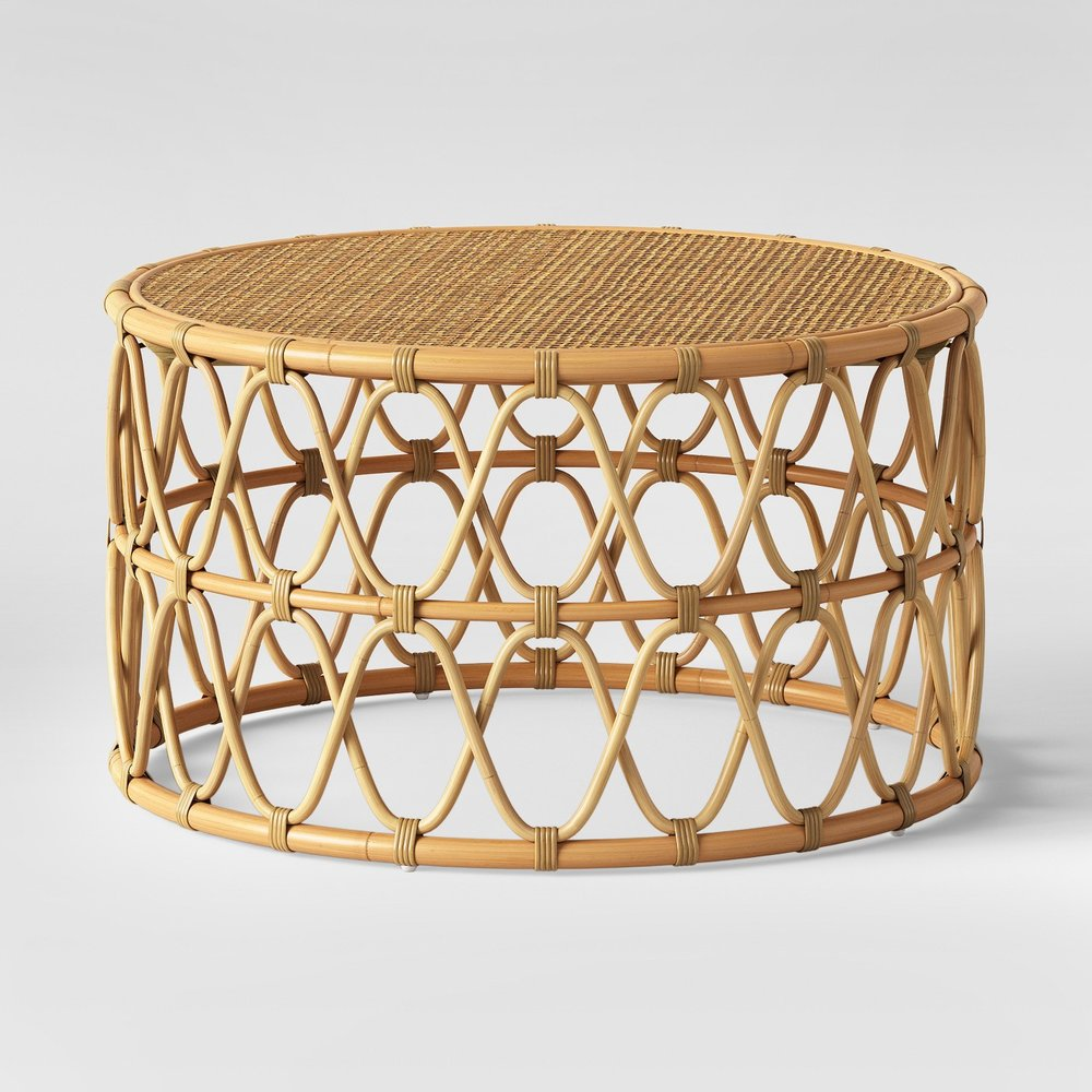Round Rattan Coffee Table $60