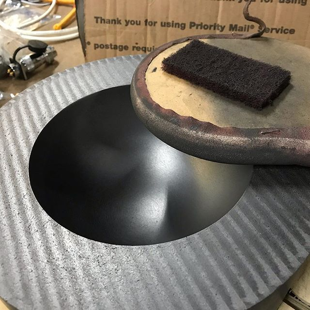Cut a semicircle out of plywood that perfectly matched the mold, wrapped in flexible sandpaper, and applied 45minutes of elbow grease.  This project is now done! And ready for delivery.  #rvamakers #instmachinist #graphite #glassblowing