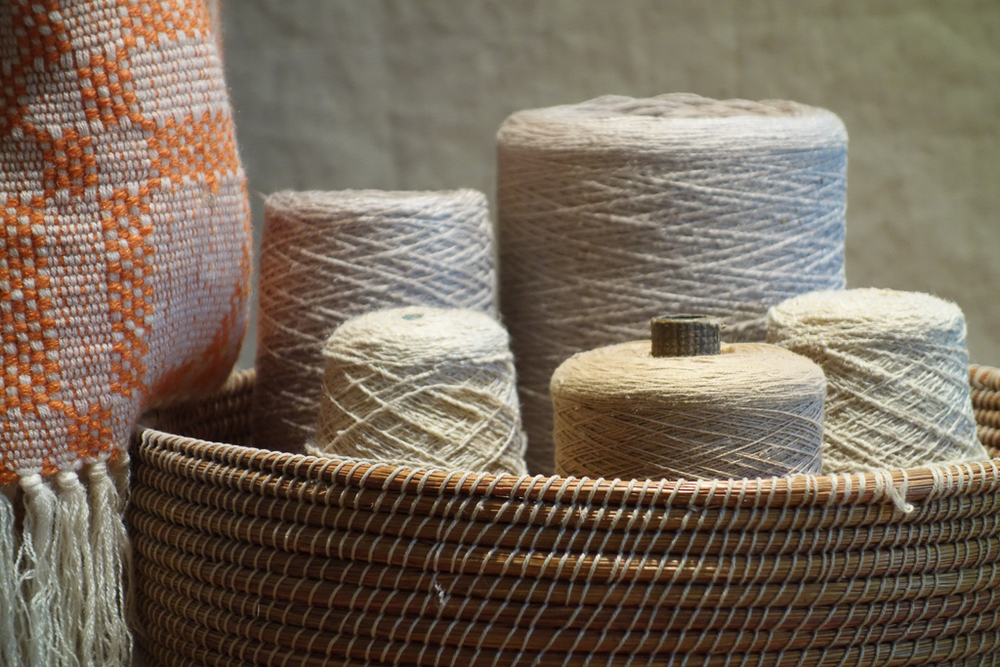 still life with basket of spools