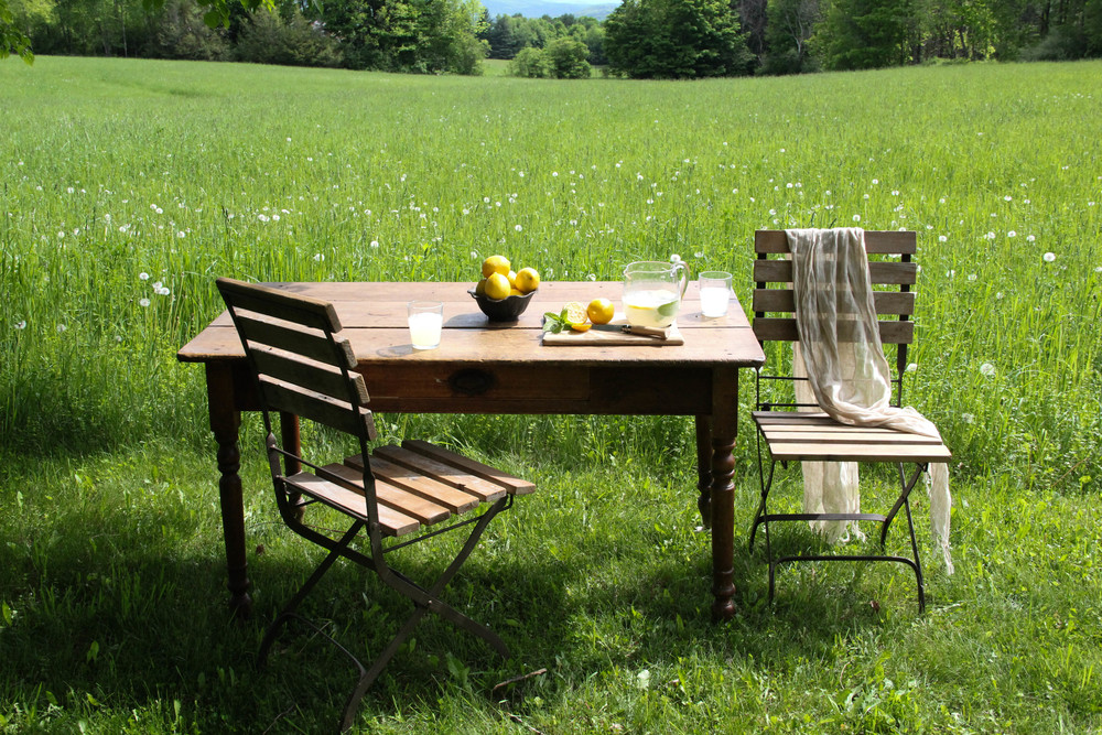 rural outdoor table with lemonade