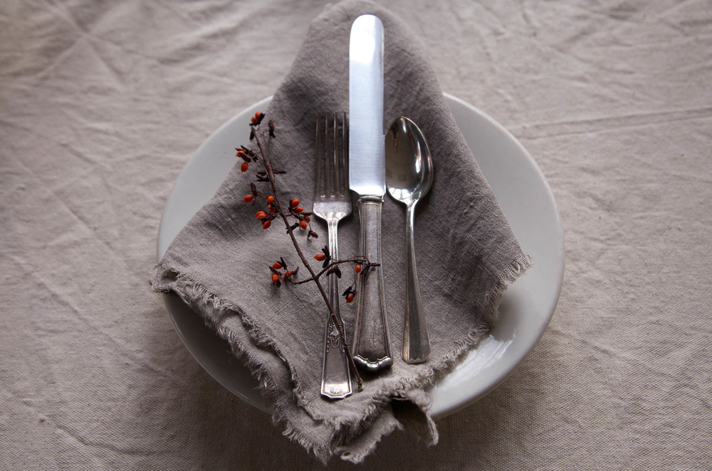 linen napkin with vintage silverplate