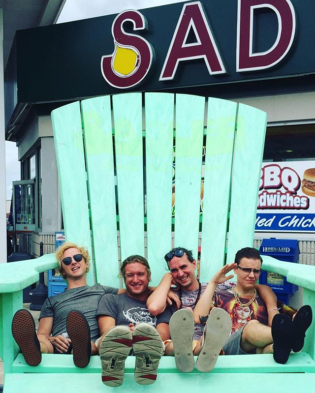 SAD. Tour's almost over. Only 3 more shows. Tonight in #norfolk @electroganic Tomorrow in #baltimore @joesquaredpizza & 8/16 in #brooklyn @roughtradenyc Be with us. #sad #bigchair #giantchair #chair #tealchair #lookatthatchair #reststop #gasstation #vanlife #tourlife #life #band #rockband #rock #rockmusic #glam #sitting #boys #boyswillbesittng #believingisbelieving