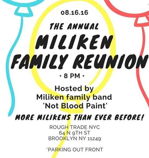 Tomorrow night, 8/16/16! The Annual Miliken Family Reunion! @roughtradenyc with yours truly, @starlightgirls, and @johnnyshowcase This'll be the most Milikens yet! #bewithus #miliken #concert #livemusic #rock #funk #pop #funkpop #believingisbelieving #familyreunion #rocknroll #rockandroll #balloons #potatosalad #koolaid #williamsburg #brooklyn #nyc #music