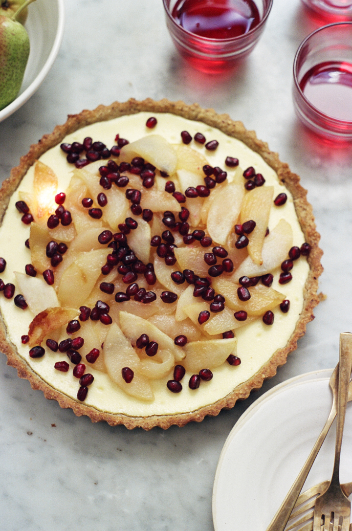 chazelnut cheesecake tart with pears and pomegranate | apt 2b baking co