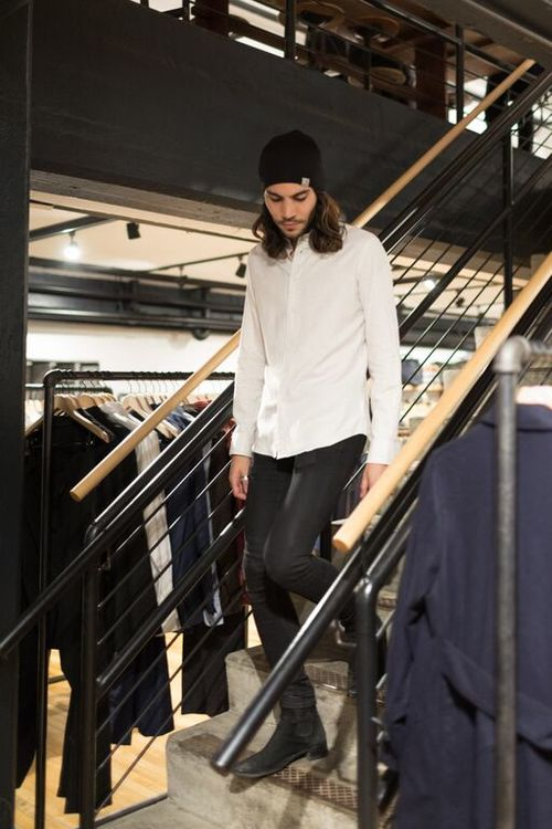 Maxwell styled in Carhartt WIP beanie and Brooklyn Tailors button up.