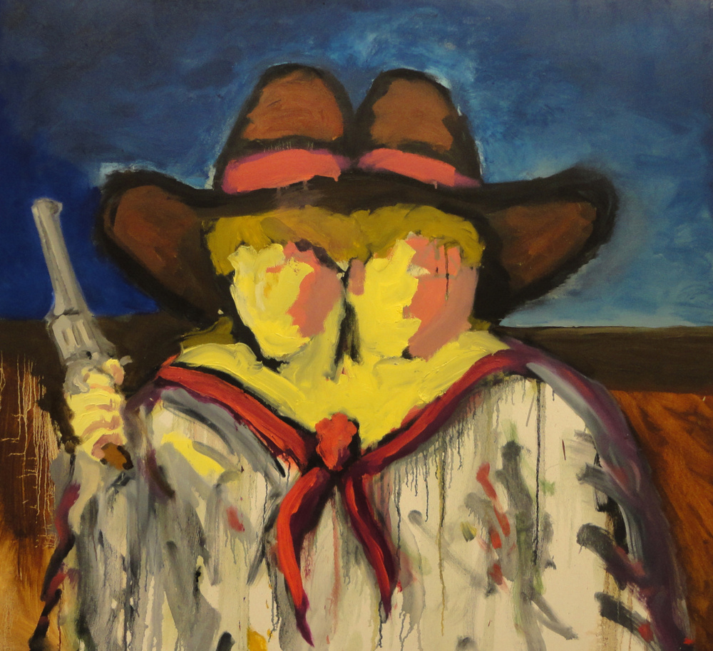 Two Headed Cowgirl  3.5' x 4'  Oil and Acrylic on Canvas