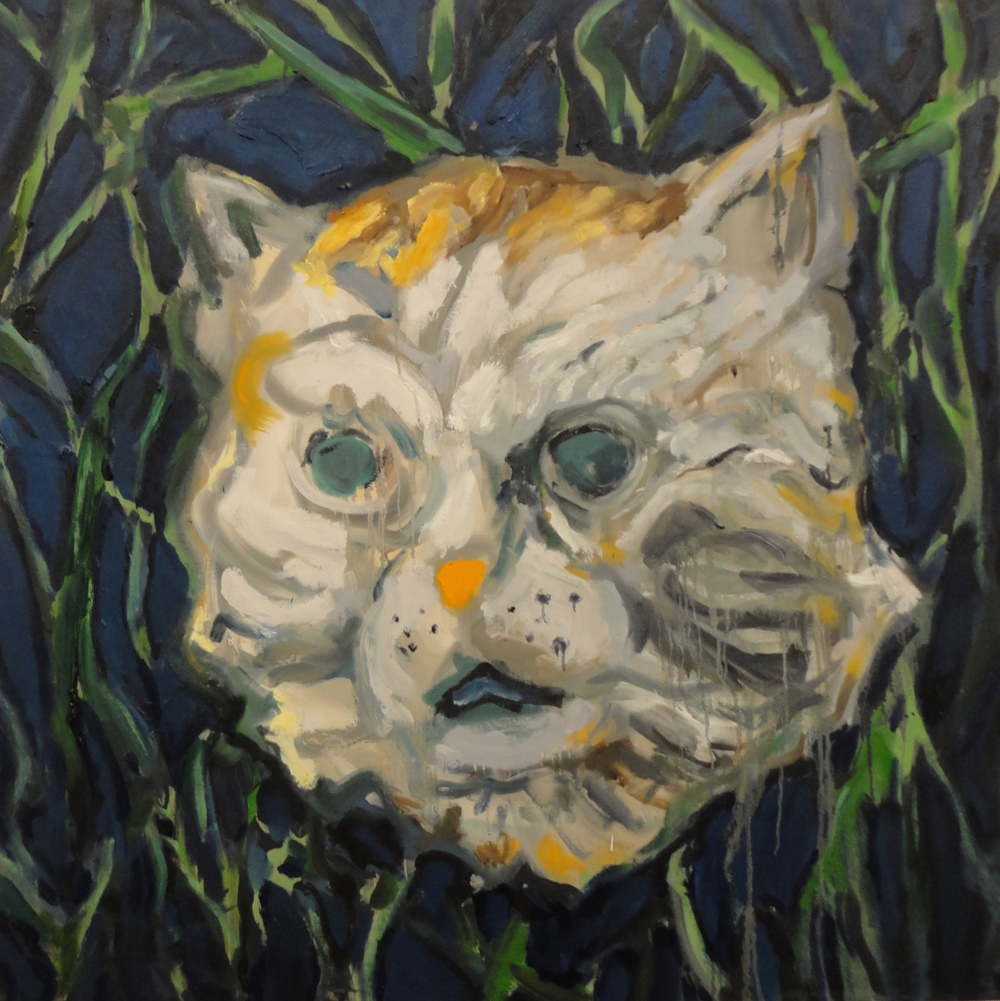 Cat Mask  3' x 3'  Oil on Canvas