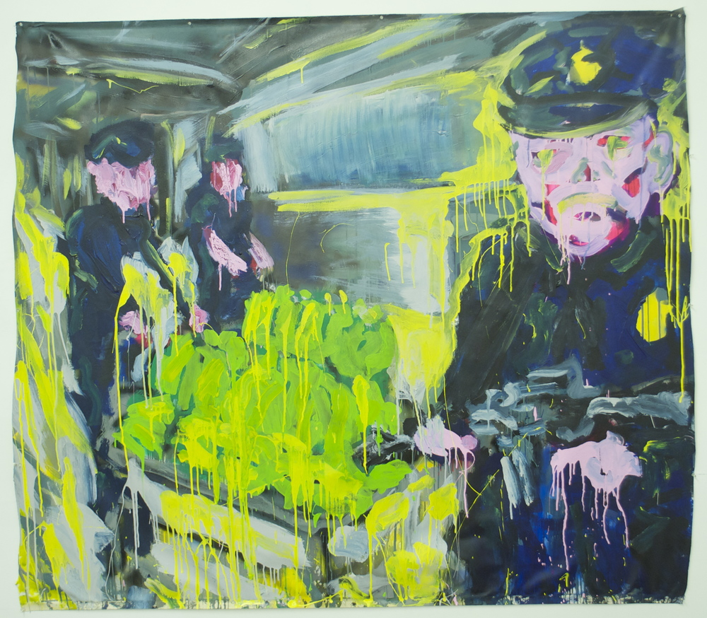 """Treasury  (64"""" x 73"""")  acrylic, latex, spray paint & ink on unstretched canvas"""