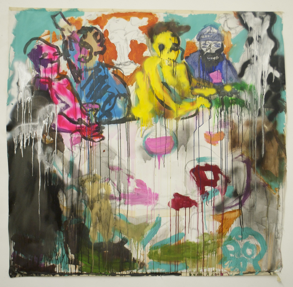 """Nuclear Bacchus  (64"""" x 68"""")  acrylic, latex, spray paint, watercolor, ink & graphite on unstretched canvas"""