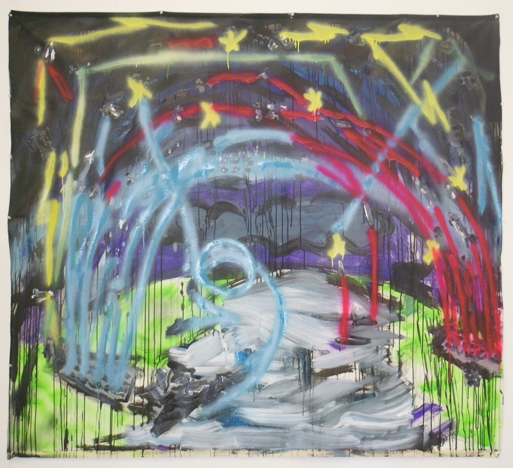 """Mutually Assured Destruction  (64"""" x 72"""")  acrylic, spray paint & ink on unstretched canvas"""