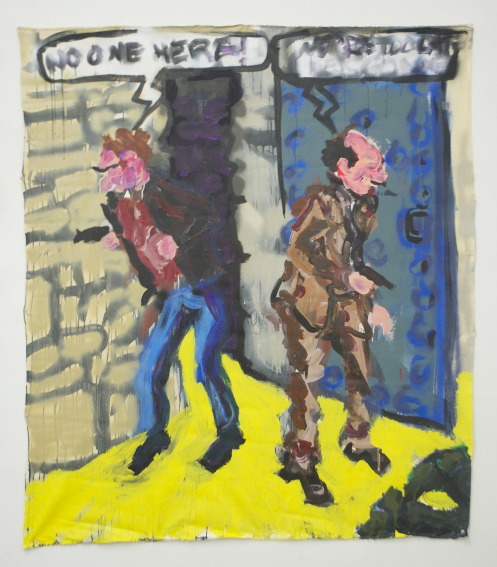 """No One Here!  (55"""" x 64"""")  acrylic, spray paint & ink on unstretched canvas"""