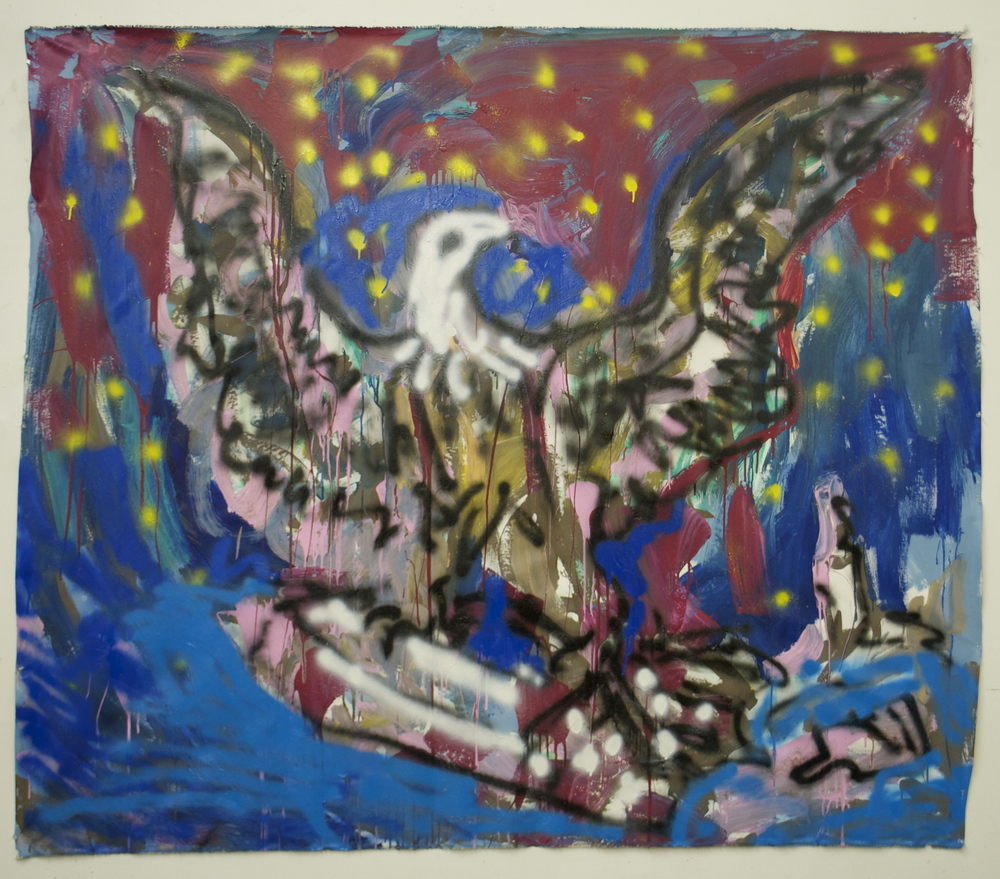 "Go Home Eagle, You're Drunk  (74"" x 64"")  acrylic, latex & spray paint on unstretched canvas"