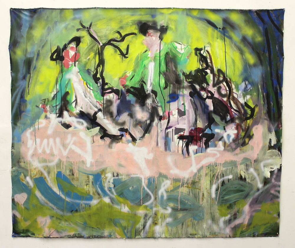 """Hunt Abstract with Death  (74"""" x 64"""")  acrylic, latex, spray paint & ink on unstretched canvas"""