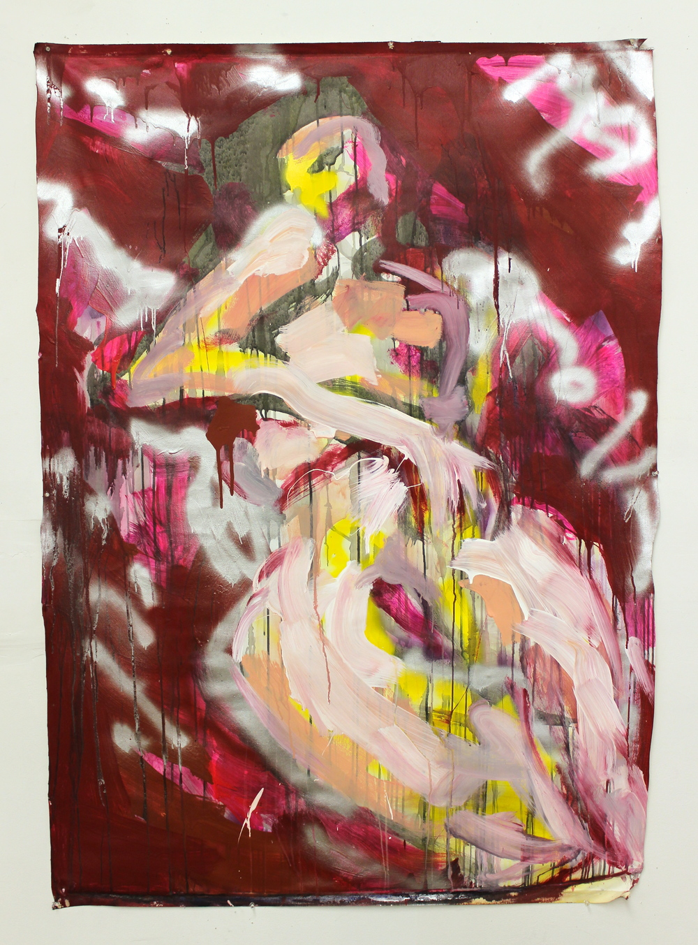 "Red Velvet  (48"" x 63"")  acrylic, latex, watercolor, spray paint & ink on unstretched canvas"
