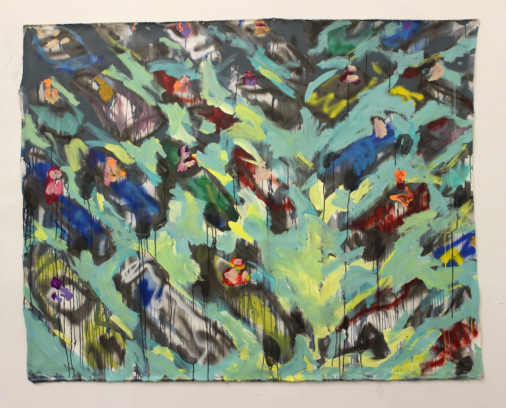 """Race Cars  (81"""" x 64"""")  acrylic, latex, spray paint, ink & graphite on unstretched canvas"""
