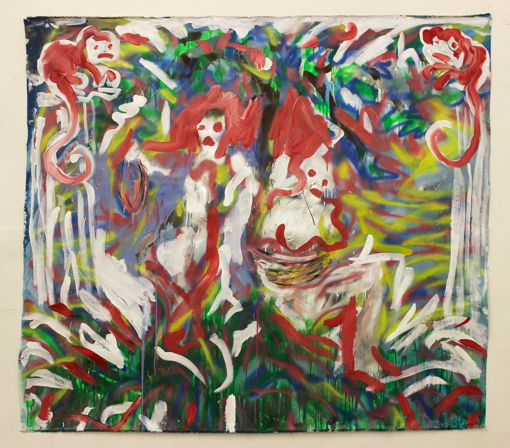 "Bondage  (70"" x 64"")  acrylic, ink & spray paint on unstretched canvas"