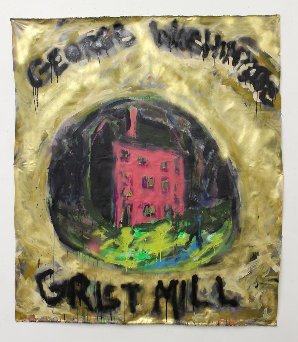 "George Washington's Grist Mill (a.k.a. Boozy Woozy Gravey Train)  (55"" x 64"")  acrylic, spray paint & ink on unstretched canvas"