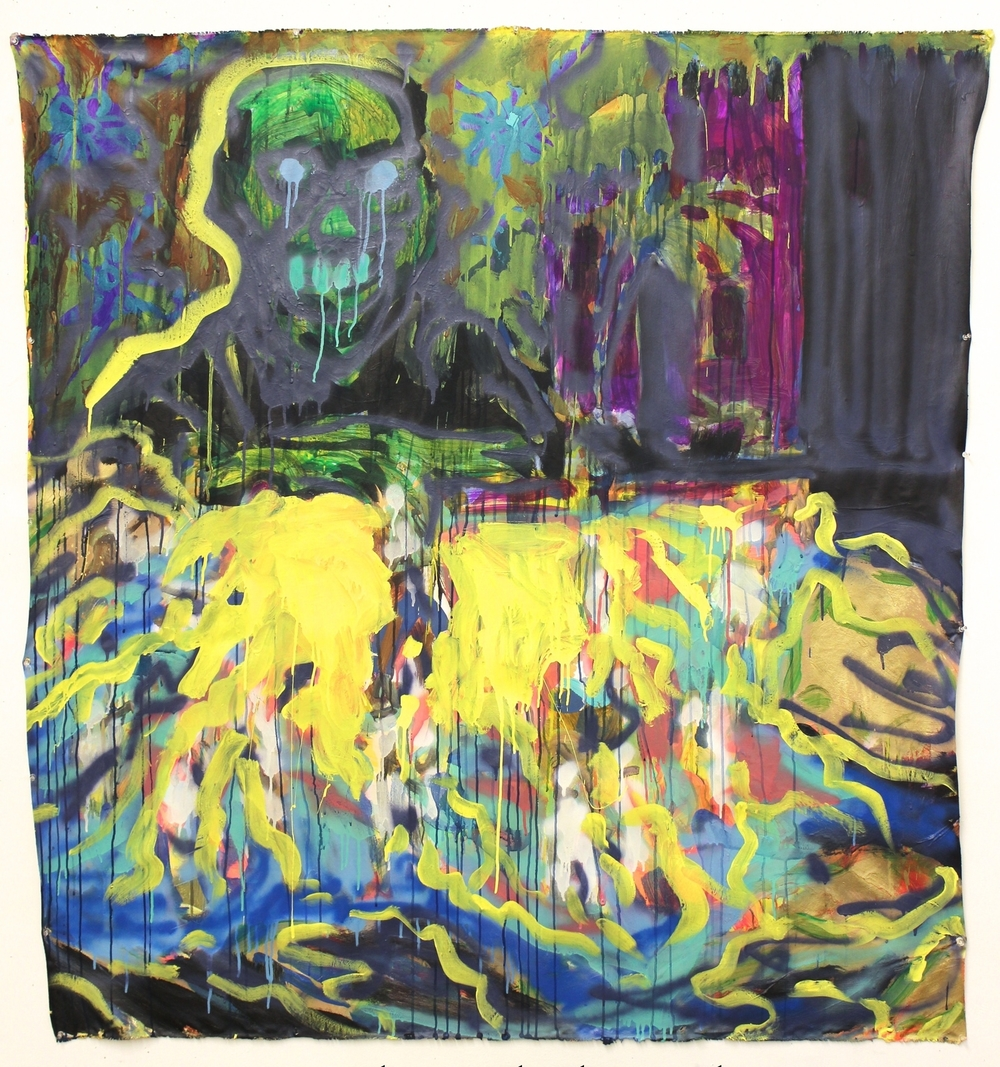 """Foreign Policy  (58"""" x 64"""")  acrylic, latex, spray paint, ink & watercolor on unstretched canvas"""