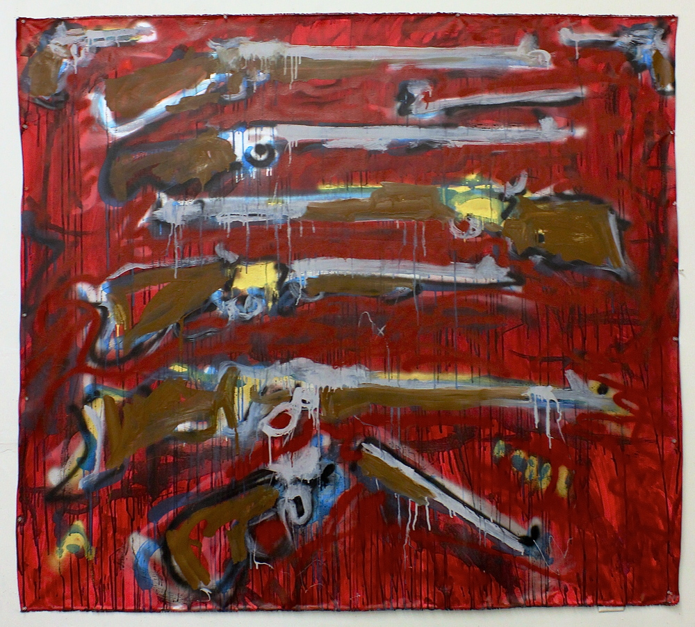"""Winchester II  (63"""" x 71"""")  acrylic, latex, ink, watercolor and spray paint on unstretched canvas"""