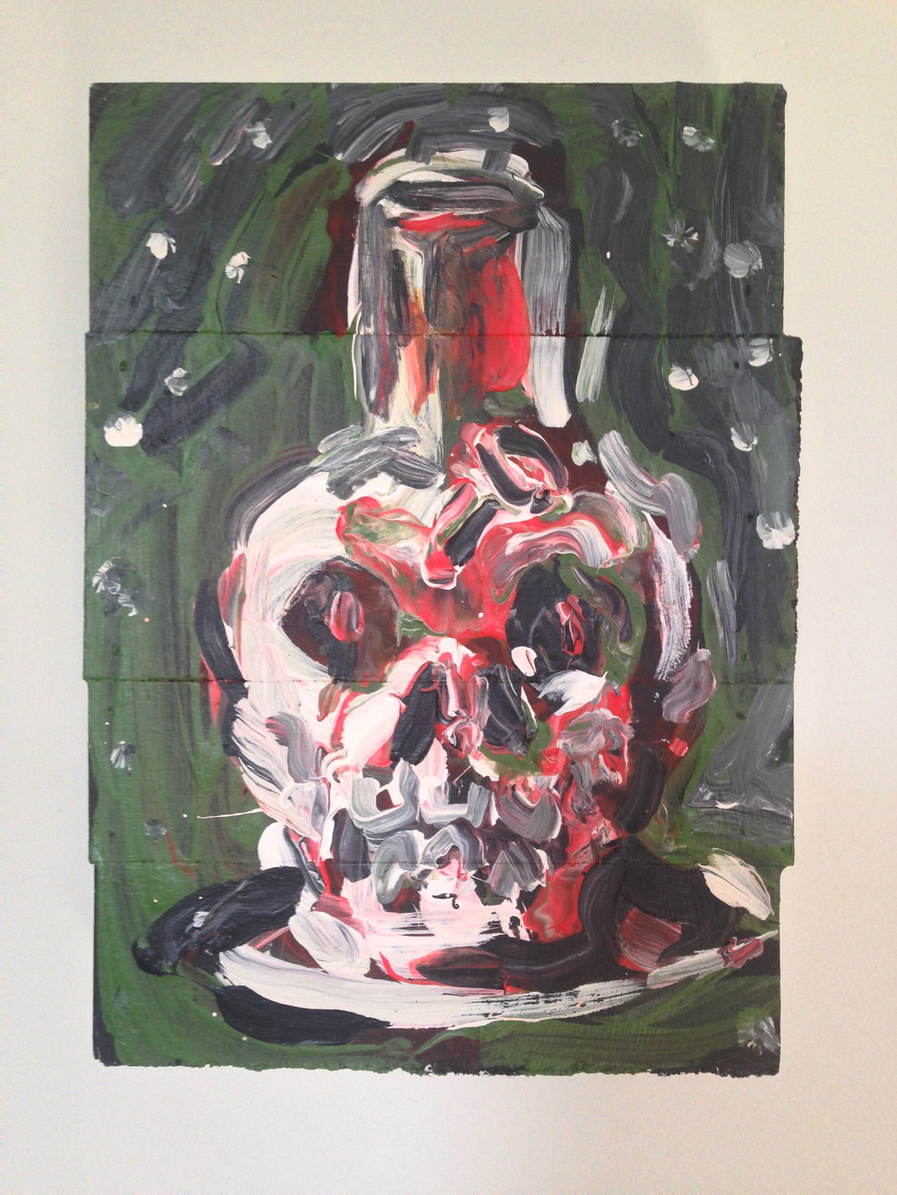 "Skull Bong (red)  9""x13""  Acrylic on panel"