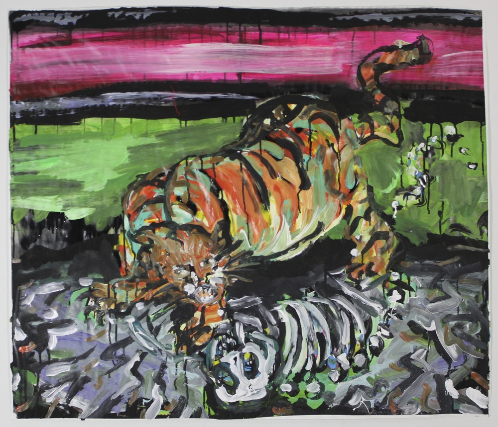 "Neon Tiger (Extinction)  41""x35""  Ink, Graphite and Acrylic on Paper"